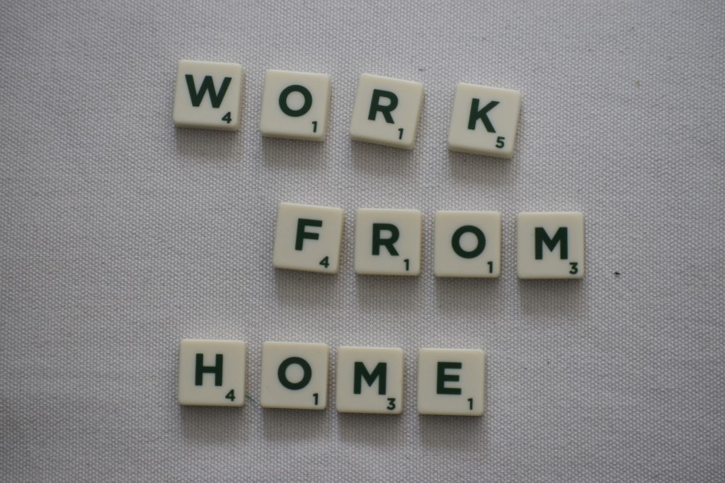"Scrabble Letters with ""Work From Home"""